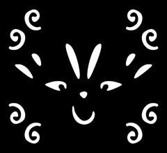 Cartoon smiling face in white on black Stock Illustration