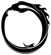 Ouroboros (snake eating its own tail)  tattoo isolated Stock Illustration