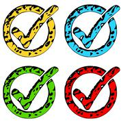 Grunge check marks or tick icons in four colored variations Stock Illustration