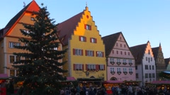 Christmas Market in Rothenburg ob der Tauber, Germany Stock Footage