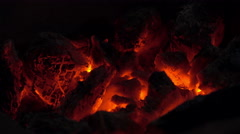 Charcoal fire is burning like a volcano. Stock Footage