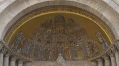 Beautiful painting and Latin inscription on Basilica di San Marco, Venice Stock Footage