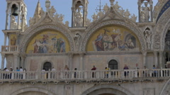 The beautiful frescoes and statues of St Mark's Basilica in Venice Stock Footage