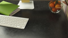 Work desk with a computer Stock Footage