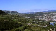 Millau Viaduct, Pyrenees, France Stock Footage