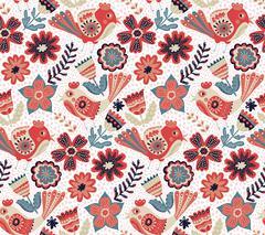 Vector flower pattern, seamless botanic texture Stock Illustration