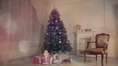 Christmas living room.Falling snow. - stock footage