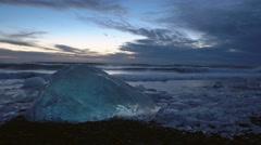 Jokulsarlon Lagoon and Diamond Beach,Icebergs,Iceland Stock Footage