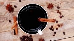 Stock Video Footage of sweet food : hot black fragrant coffee