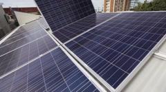 Solar panel installation - stock footage