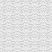 Stock Illustration of Seamless white 3D pattern,  east ornament, indian ornament, vector EPS 10. En
