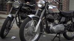 Motorcycles parked outside home garage in Brooklyn New York City, 1080p HD Stock Footage