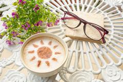 latte art coffee in sun design - stock photo