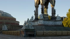 Pan from the Albert Memorial to the Royal Albert Hall Stock Footage