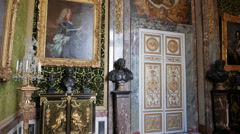 Tilt and pan view of a room inside the palace of versailles, paris Stock Footage