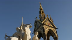 Tilt down the front aspect of the Albert Memorial Stock Footage
