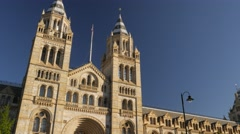 Tilt down the front of the Natural History Museum Stock Footage