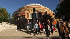 Students in front of Royal Albert Hall Stock Footage