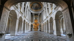 Stock Video Footage of zoom in shot of the royal chapel in the palace of versailles
