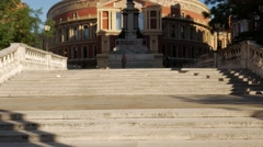 Tilt up the steps of the Royal Albert Hall Stock Footage