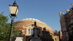 Tilt down the steps of the Royal Albert Hall Stock Footage