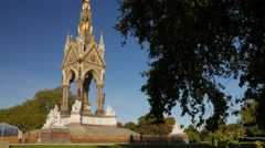 Albert Memorial in Hyde Park framed by trees Stock Footage