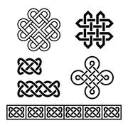 Celtic Irish patterns and braids - vector Stock Illustration