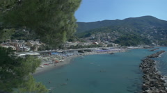 Coastline Moneglia Beach on Italian Riviera - 29,97FPS NTSC Stock Footage