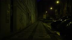 Walking Prague Street Night Low - 4k Stock Footage