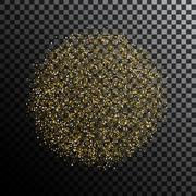 Gold glitter dust sphere isolated - stock illustration