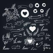 Set of decorative design elements for love theme - stock illustration