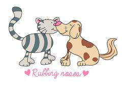 Cat and dog rubbing noses illustration - stock illustration