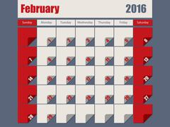 Gray Red colored 2016 february calendar Stock Illustration