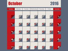 Gray Red colored 2016 october calendar - stock illustration