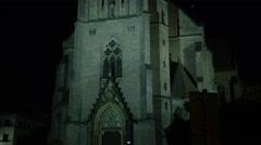 Church Prague Night Dolly - 4k Stock Footage