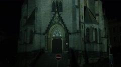 Church Prague Night Pan - 4k Stock Footage