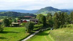 Norwegian countryside village landscape with green farm view Stock Footage