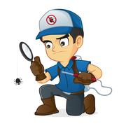 Exterminator searching for bugs and kill them Stock Illustration