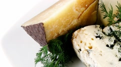 Aged cheeses on white Stock Footage