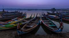 Small Port At U Pain (Bain) Bridge Landmark Place Of Myanmar And Sunrise Stock Footage