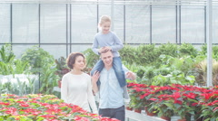 Young family choosing flowers in the greenhouse Stock Footage