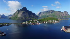 Aerial view of Reine, scenic town in Norway Stock Footage