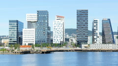 Barcode project high-rise apartments of oslo norway Stock Footage
