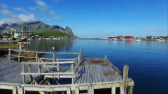 Fishing port Reine on Lofoten islands in Norway Stock Footage