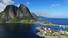 Aerial footage of village on Lofoten islands in Norway. Stock Footage