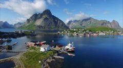 Flying above port of Reine on Lofoten islands Stock Footage
