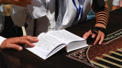 Bar mitzvah ceremony at the kotel Jerusalem Israel Stock Footage