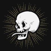Retro hand drawn skull illustration with sunburst, vector - stock illustration