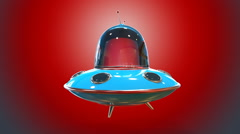 Flying saucer red background Stock Footage