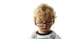 Cute Toddler Listening To Music - stock footage